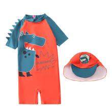 Dziecko kid stroje kąpielowe letnia dziewczyna chłopiec stroje kąpielowe z krótkim rękawem Cartoon rekiny dinozaur basen kąpielowy plażowe stroje kąpielowe + czapka dla chłopców strój tanie tanio MUQGEW Poliester Dla dzieci Unisex Pasuje prawda na wymiar weź swój normalny rozmiar infant swimwear swimsuit bandeau raye