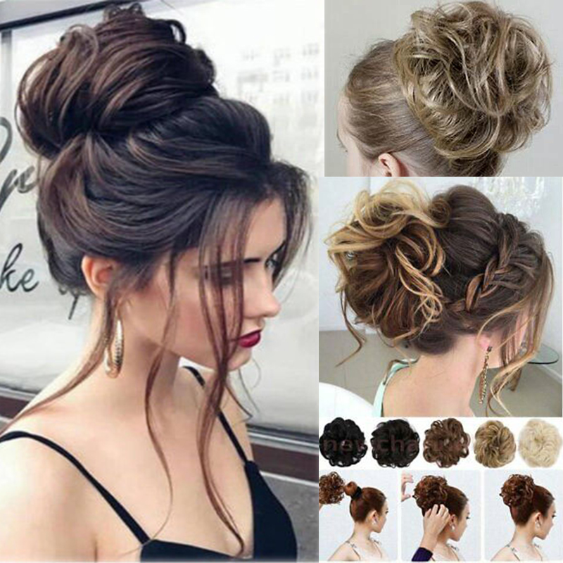 Hair-Extensions Hairpiece Bun Ponytail Rubber-Band Updo Wavy Curly Messy Elastic Women