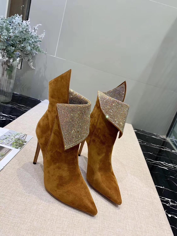 Г., модные короткие ботинки со сверлом женские ботинки на высоком каблуке с боковой молнией Ботинки martin черные ботинки на заказ - Цвет: Оранжевый