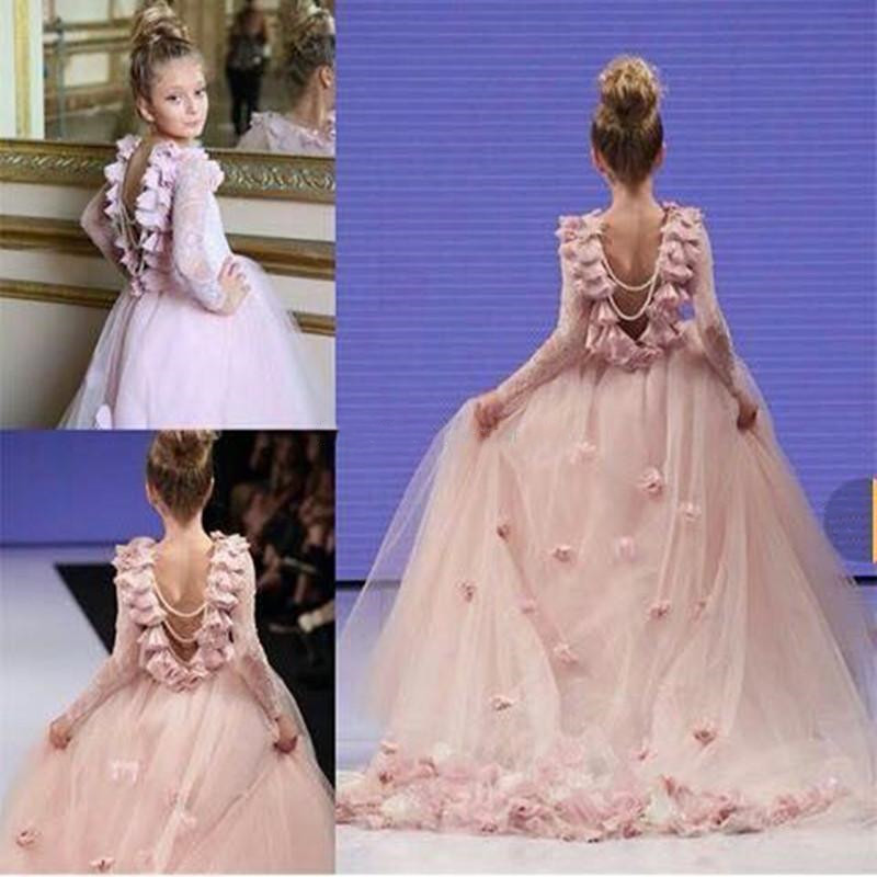 Girls Lace Pageant Party Dress Wedding Flower Girl Ball Gown Long Sleeve Dresses