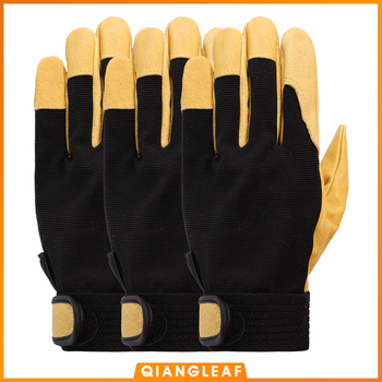 QIANGLEAF 3pcs New Protection Safety Glove Cowhide men yellow Leather Driver Security Protection Racing Moto Work Gloves 508NP qiangleaf 3pcs new free shipping protection glove d grade cowhide yellow ultrathin leather safety work gloves wholesale 527np