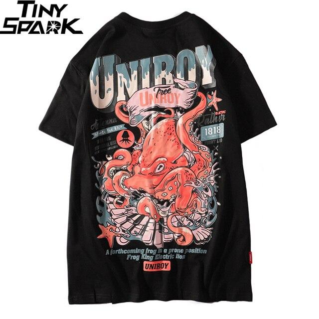 2019 Harajuku camiseta pulpo hombres Hip Hop camiseta Streetwear verano algodón camiseta de manga corta estampado negro camisetas ropa de calle