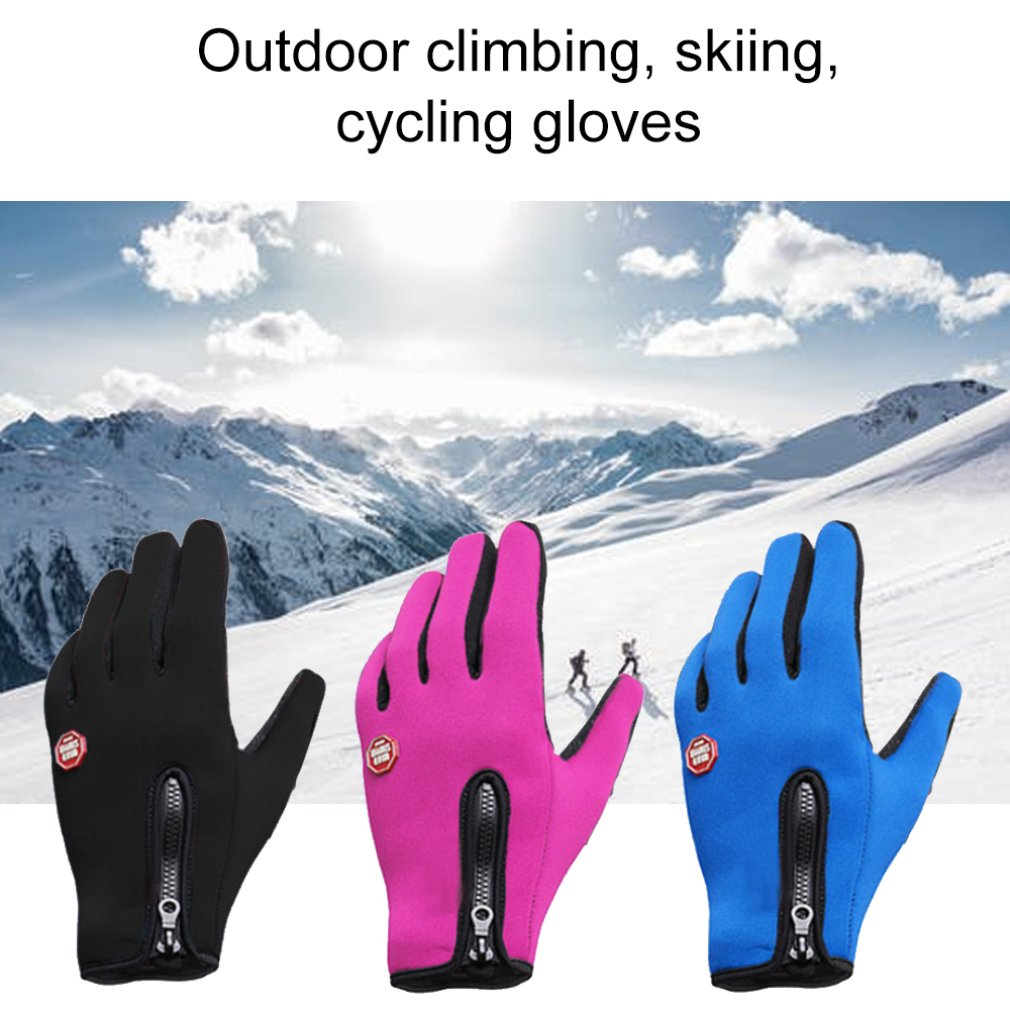 Men Women Winter Windproof Fleece Warm Cycling Full Finger Gloves Outdoor Sports Skiing Touch Screen Bike Bicycle Glove