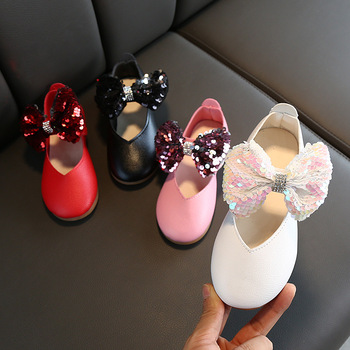 2020 New Spring Autumn Girls Sneakers Kids Girl Leather Shoes Bling Bow Tie Princess Baby Children Shoes Cute Party Shoes C11191 2pcs lot spring autumn baby little girls knitted ruffle skirt suits children kids girl jersey skirt sweater bow tie frillies