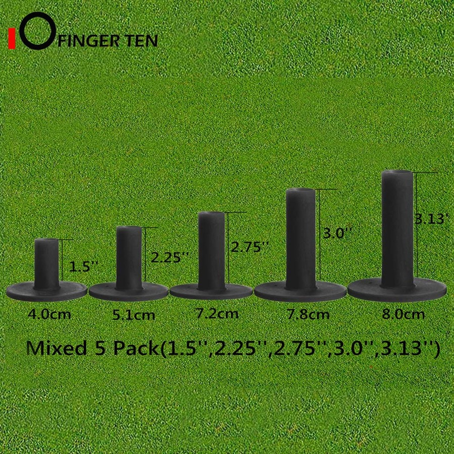 5 Pcs/set Durable Black Rubber Golf Tees 1.5
