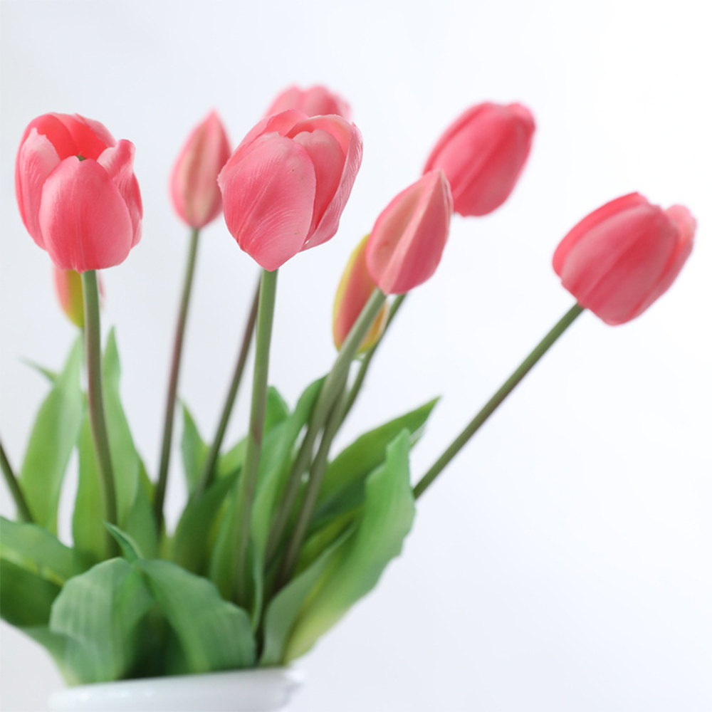 5Pcs bunch Artificial Tulips Flower For Home Wedding Decoration Bride Hand Flowers Real Touch Soft Silicone Tulip flores Decor 6