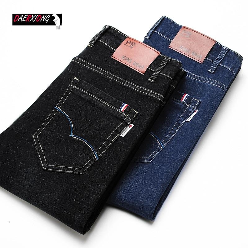 2020 Fashion Mens Black Blue Jeans Men Autumn Winter Business  Straight Elastic Skinny Jean Men High Quality Casual Denim Pants