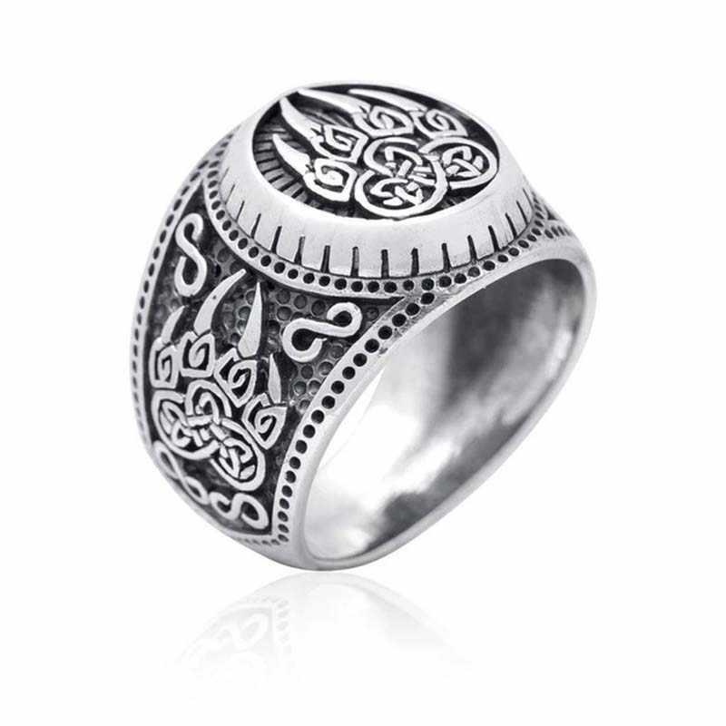 الرجعية الاستبداد التايلاندية الفضة لونين الدب باو النص مجوهرات هندسية الرجال المشاركة خاتم هدية الزفاف