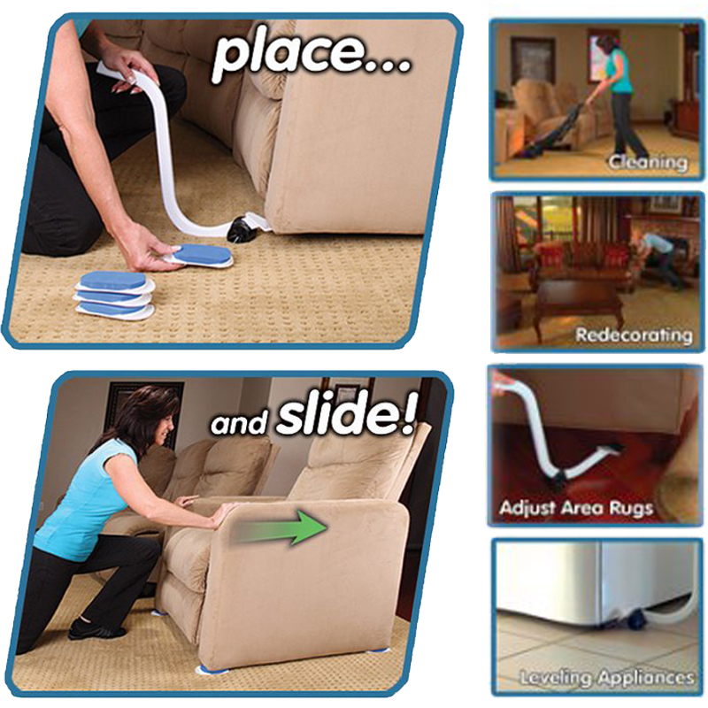 Moves Furniture Mover With Lifter Tool & 4 Slides Household Handy Move Tools Mover Lifter Pads Labor-saving Accessories