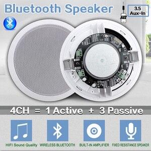 "Image 1 - 가정 4pcs 천장 스피커에있는 Bluetooth 벽 전 범위 5.25 ""확성기 입체 음향 오디오 스피커 목욕탕 상점 호텔 확성기"