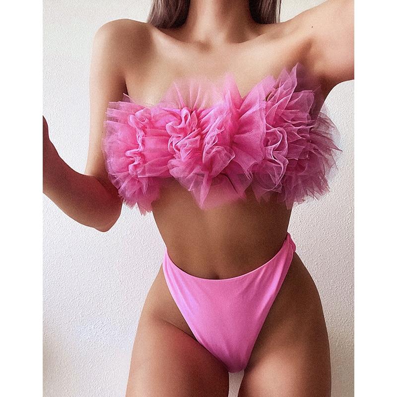2020 Sexy Off The Shoulder Bikini Swimwear Women Bandeau Push Up Bikini Set Mesh Swimsuit Female Bathing Suits Summer Beach Wear