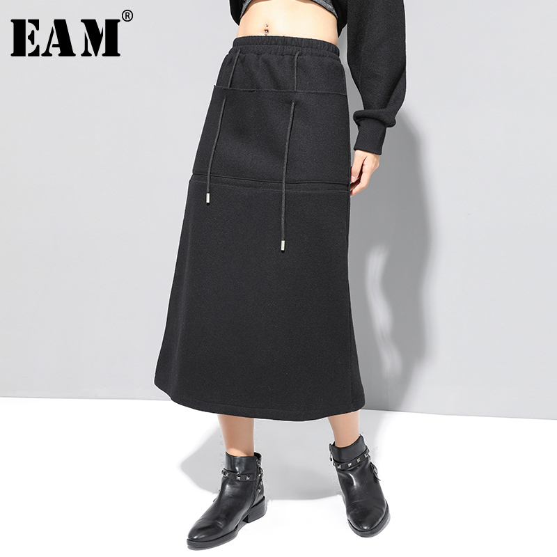 [EAM] High Elastic Waist Vent Black Drawstring Temperament Half-body Skirt Women Fashion Tide New Spring Autumn 2020 1N788