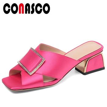 CONASCO Summer Fashion Women Sandals Concise Metal Decoration Rhinestone Casual Pumps High Heels Shoes Woman Peep Toe Slippers