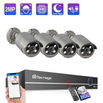 Techage 8CH 1080P POE IP Camera NVR System 4pcs 2MP Two-Way Audio IR Cut Outdoor Waterproof CCTV Home Security Surveillance Kit - discount item  43% OFF Video Surveillance