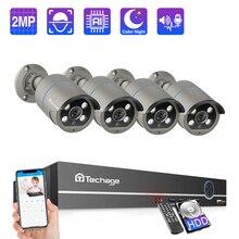 Techage 8CH 1080P POE IP kamera NVR sistemi 4 adet 2MP İki yönlü ses IR Cut açık su geçirmez CCTV ev güvenlik gözetim kiti