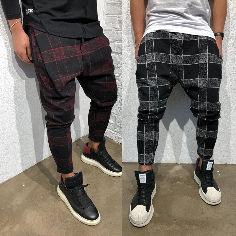 ZOGAA Mens Plaid Hip Hop Pants Streetwear Loose Harem Pants Causal Trousers Male Cotton Linen Joggers Full Length Cargo Pants