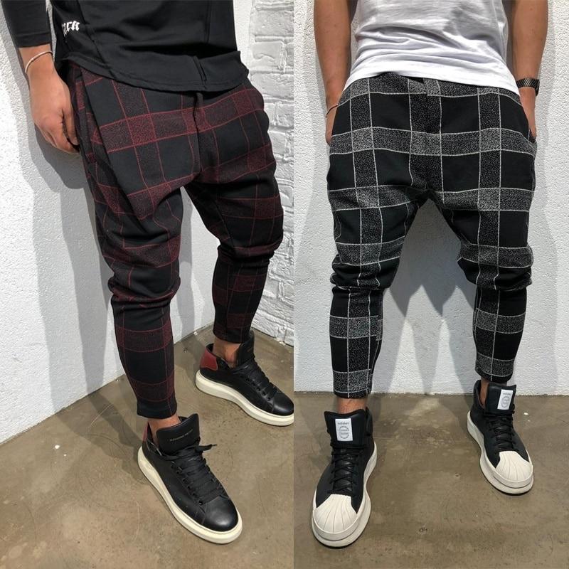 ZOGAA Mens Plaid Hip Hop Pants Streetwear Loose Harem Pants Causal Trousers Male Cotton Linen Joggers Full Length Cargo Pants