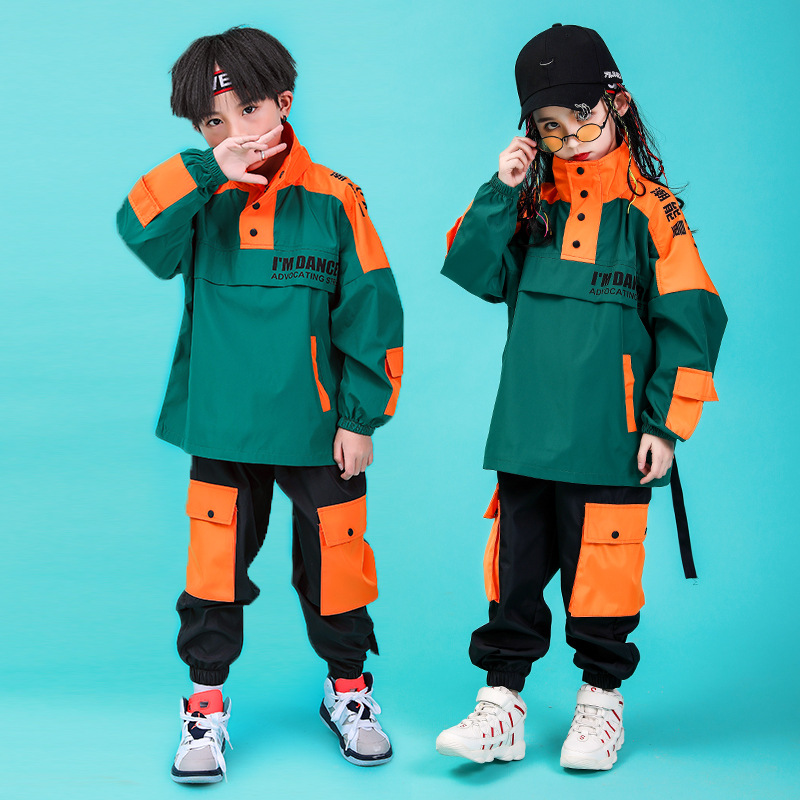 Kid Cool Hip Hop Clothing High Neck Jacket Coat Pullover Top RUnning Causal Pants For Girls Boys Jazz Dance Costume Clothes Wear