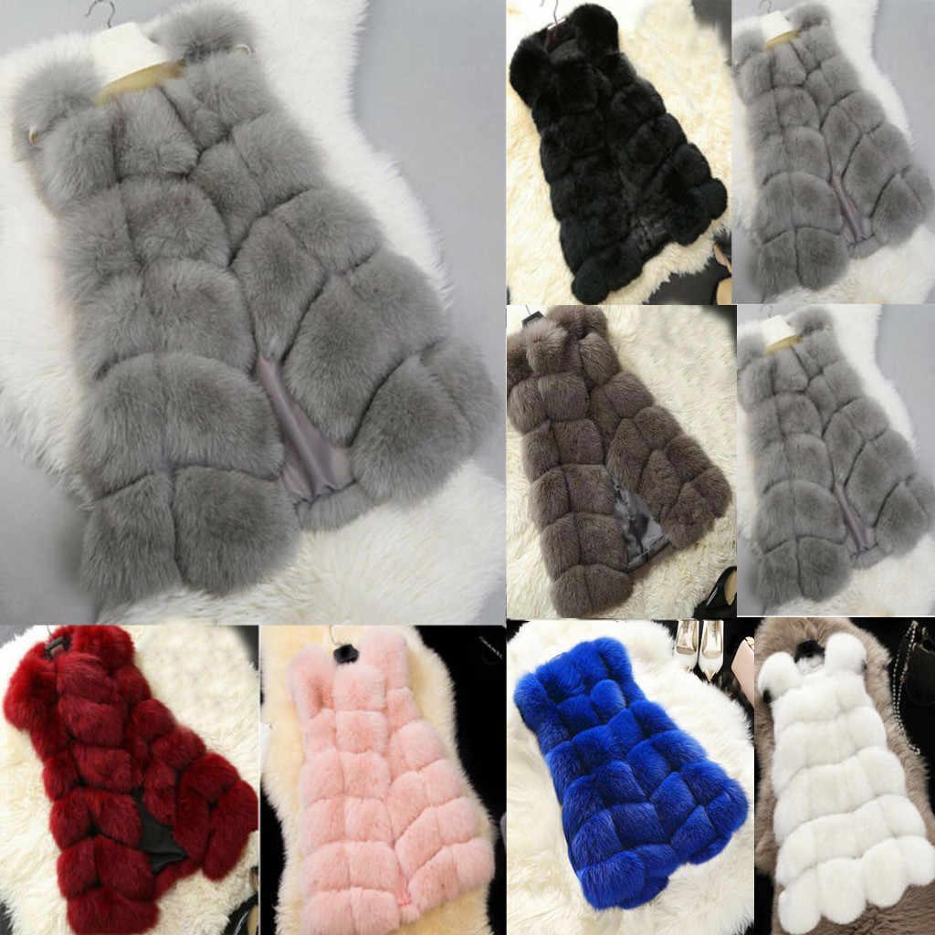 フェイクファーコート秋冬女性 2019 ファッションカジュアル暖かいスリムノースリーブフェイクキツネの毛皮のベスト冬の女性 casaco feminino