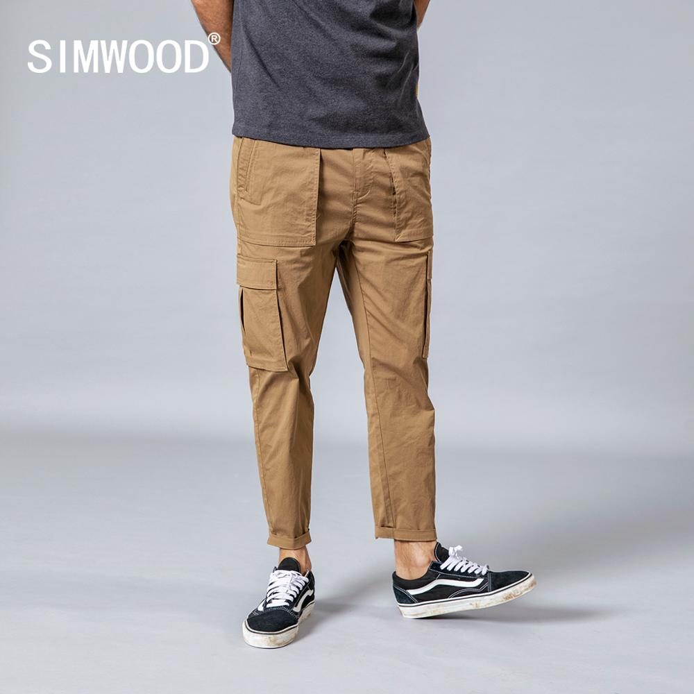 SIMWOOD 2020 Spring New Thin Cargo Pants Men Loose Fashion Ankle-length Pockets Trousers Plus Size High Quality Clothing 190059