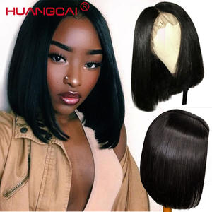 Short Bob Wigs Hair Human-Hair-Wigs Lace-Front Remy Natural-Black Straight Women Brazilian