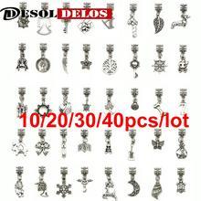 Tibetan Silver Tone Butterfly Beads European Charms Pendant Bracelet Jewelry DIY Findings Handmde 10/20/30/40pcs/lot