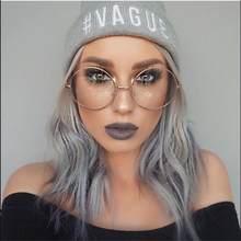 Gafas grandes redondas para mujer, marcos de Metal transparentes, lentes transparentes, Marcos ópticos, miopía de empollón, montura de gafas de moda