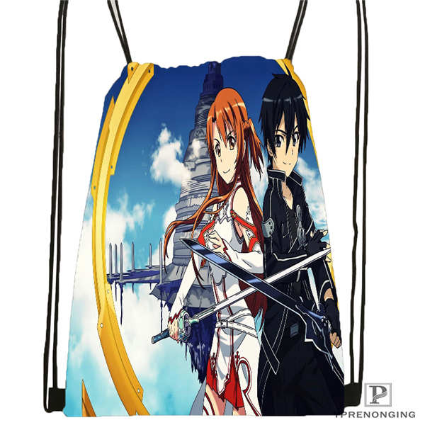 Custom Sword-Art  Drawstring Backpack Bag Cute Daypack Kids Satchel (Black Back) 31x40cm#2018611-2(3)