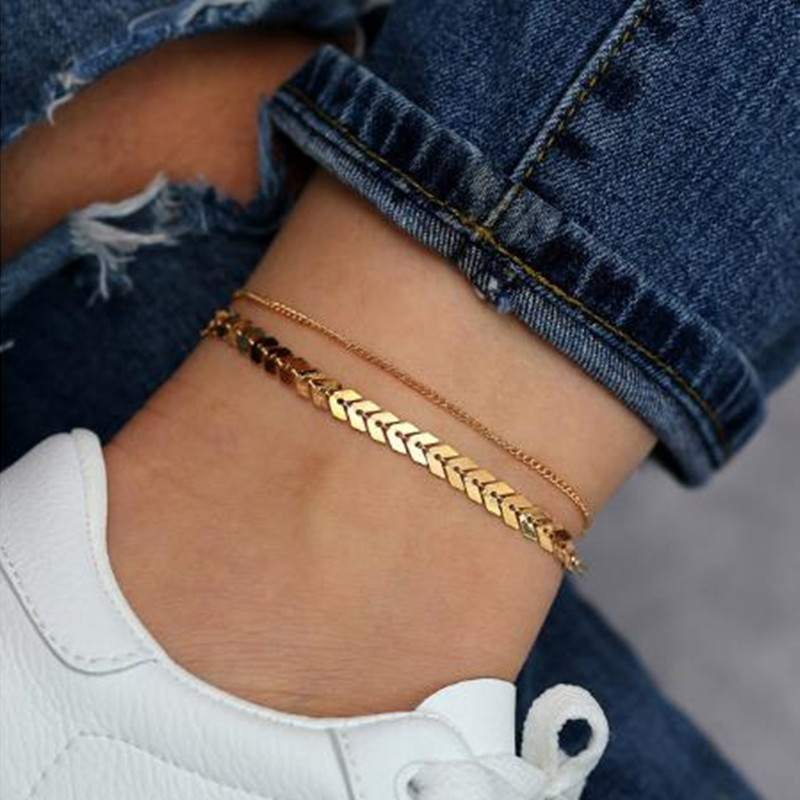Anklet for Women Golden Silver Color Double Layer Fashion Foot Jewelry Summer Beach Barefoot Sandals Bracelet Gift For Girl