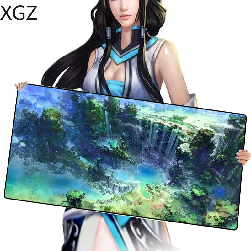 XGZ Green Forest Waterfall Large Mousepad Game Player Black Locking Edge Pc Keyboard Pad Customizable Mouse for Csgo DOTA 2 image