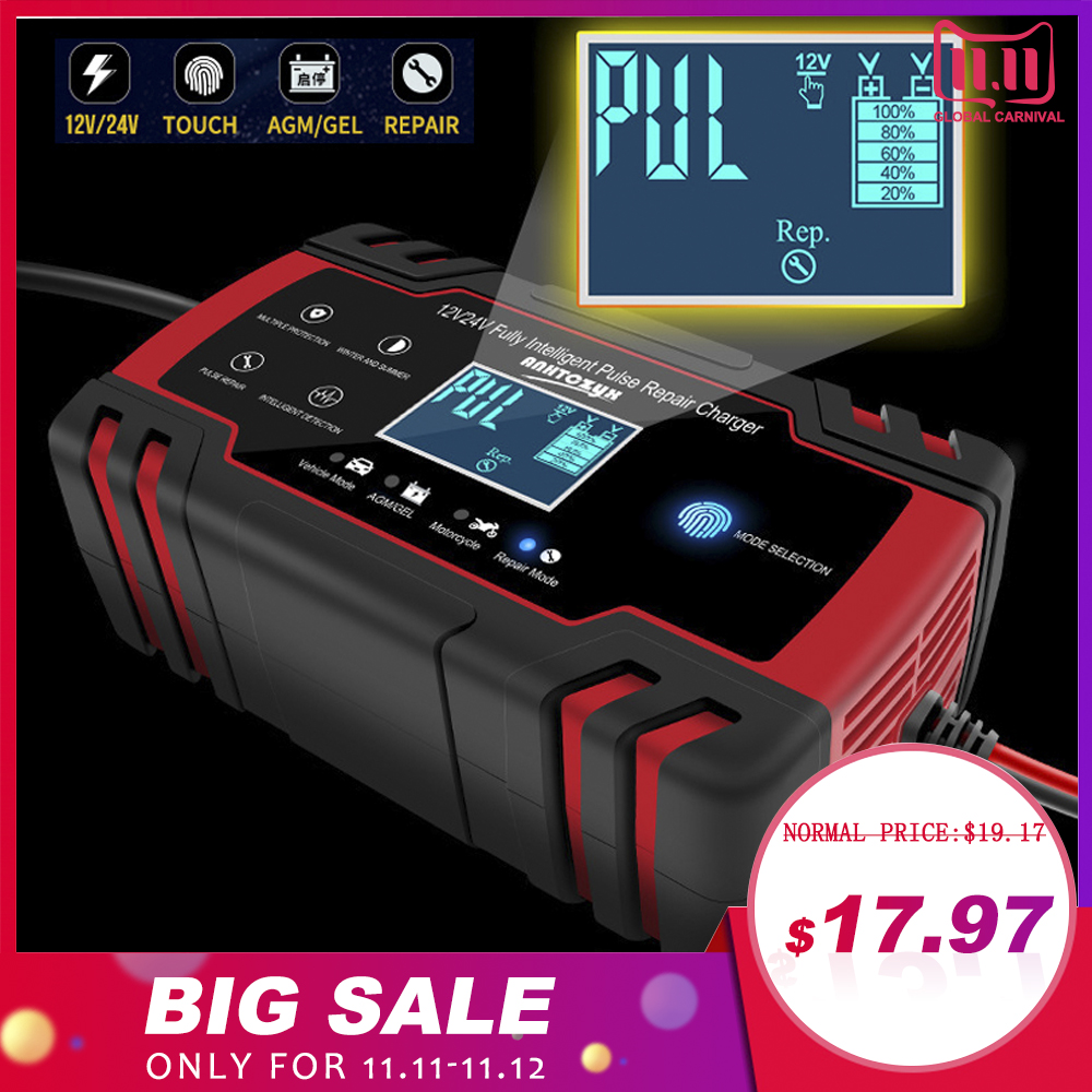 Car Battery Charger 12/24V 8A Touch Screen Pulse Repair LCD Battery Charger For Car Motorcycle Lead Acid Battery Agm Gel Wet-in Battery Charging Units from Automobiles & Motorcycles