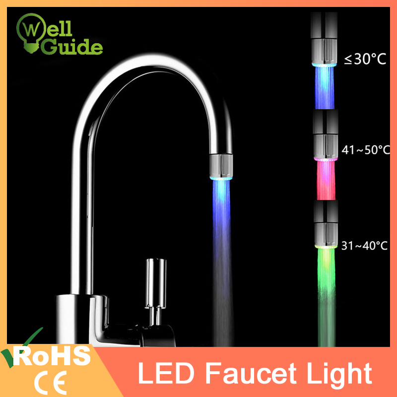 LED Faucet Light Temperature Sensor RGB Glow Shower Water Shower Head Stream Sink Tap Torneira Bathroom Kitchen Accessories