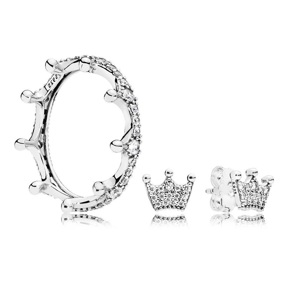 NEW 100% 925 Sterling Silver Simple And Elegant Original ENCHANTED CROWN RING EARRING STUDS Set Charming Gift Recommended