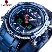 KADEMAN 2019 Design Dual Movement Blue Stainless Steel Mens Military Quartz Digital Sport WristWatch Top Brand Luxury Male Clock все цены