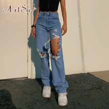 ArtSu Hollow Out Distressed Ripped Jeans for Women Casual Vi