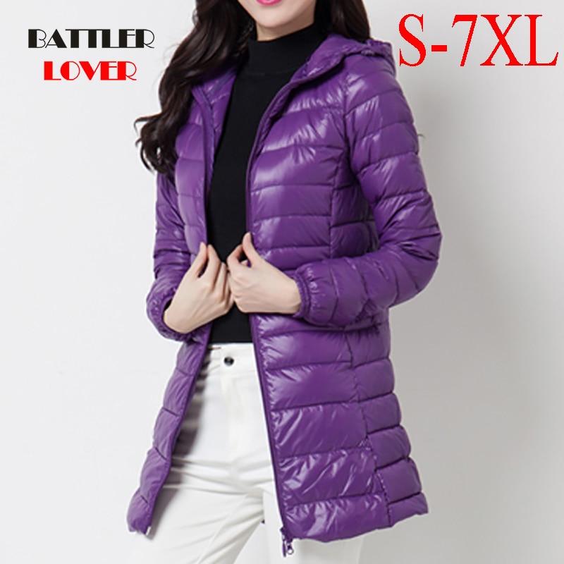 Down Jacket Women Brand New Winter Warm Jackets Women's Long Light White Duck Down Jacket 5XL 6XL 7XL Ultra Light Hooded Coats