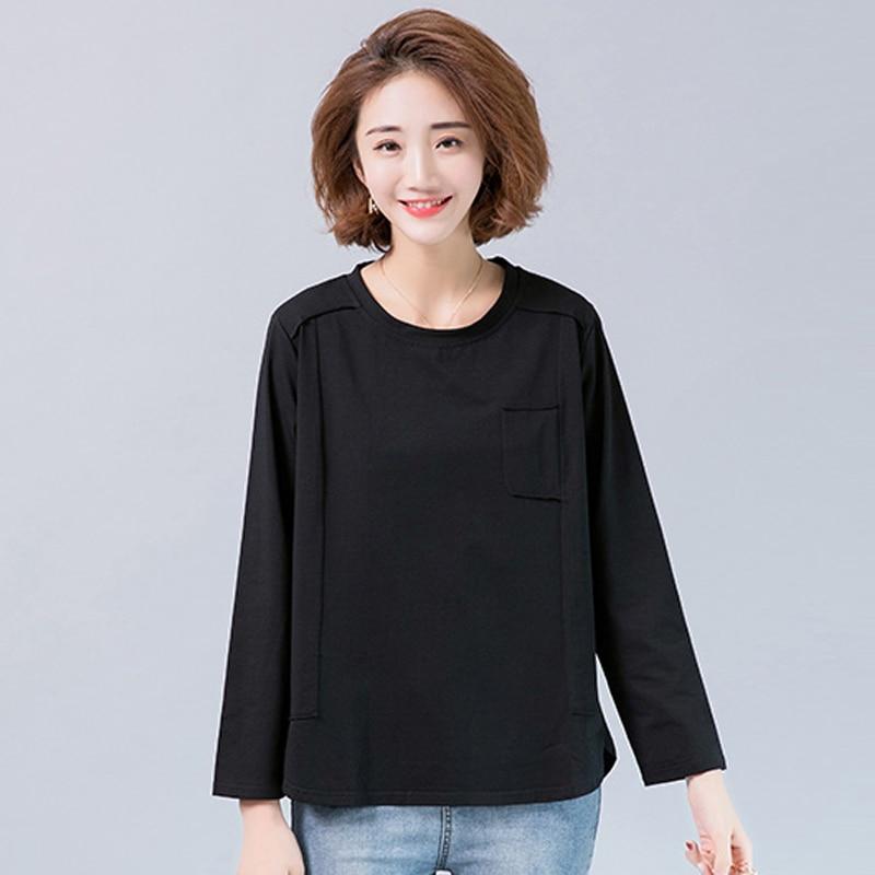 Grande taille L-5XL hauts femmes 2019 printemps décontracté lâche à manches longues T-shirt noir coton haut col en o t-shirts femmes