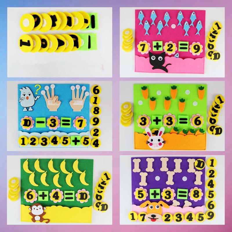 1Pcs Children Toys DIY Kindergarten Non-woven Educational Toys Education Montessori Teaching Aids Math Puzzle Toys