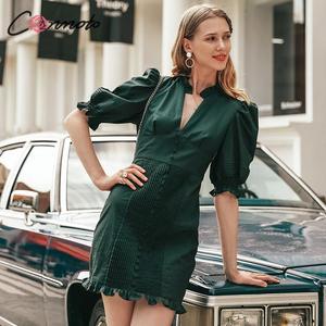 Image 3 - Conmoto élégant vert vintage robe de soirée femmes pour la nuit plissé court dames robe automne hiver 2019 robes vestidos