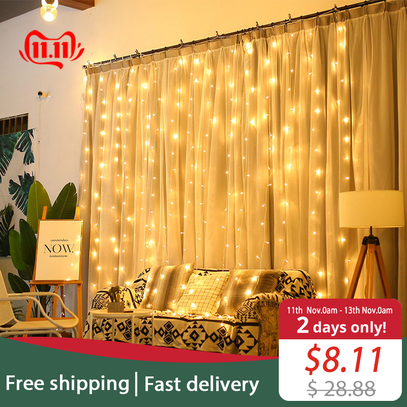 JSEX LED Curtains Fairy <font><b>Lights</b></font> Christmas <font><b>Lights</b></font> Outdoor Deal <font><b>Light</b></font> String Lights3x2/3x3/3x1/6x3New Year Holiday <font><b>Home</b></font> <font><b>Decorations</b></font> image