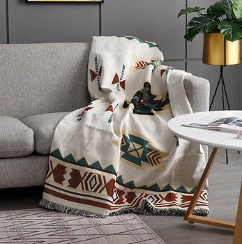 Dekoracyjna dzianinowa sofa rzut koc miękka bawełniana dywan Sofa ręcznik Plaid gobelin dla domu salon łóżko samolot podróży tanie i dobre opinie 100 poliester Drukowane sofa Blanket 300tc Zwykły Dzianiny Dekoracyjne Pościel 80 Cotton+20 Polyester