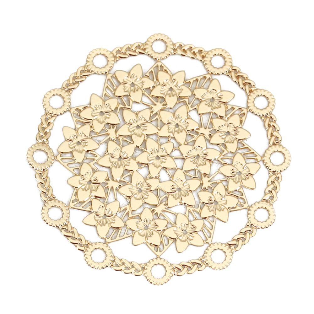 DoreenBeads Iron Alloy Filigree Stamping Connectors Round Gold/Silver Color Hollow Flower DIY Jewelry Findings 29mm Dia, 10 PCs