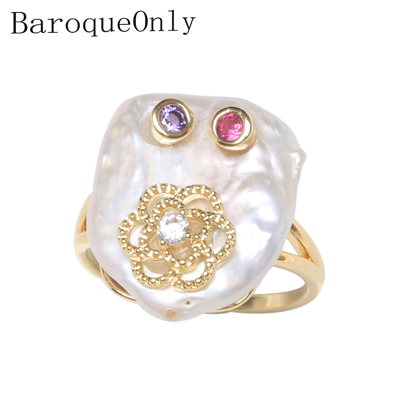BaroqueOnly Flower Design 925 Sterling Silver Button Square Pearl Ring Natural White Pearl Jewelry Adjustable Rings Gifts RBB