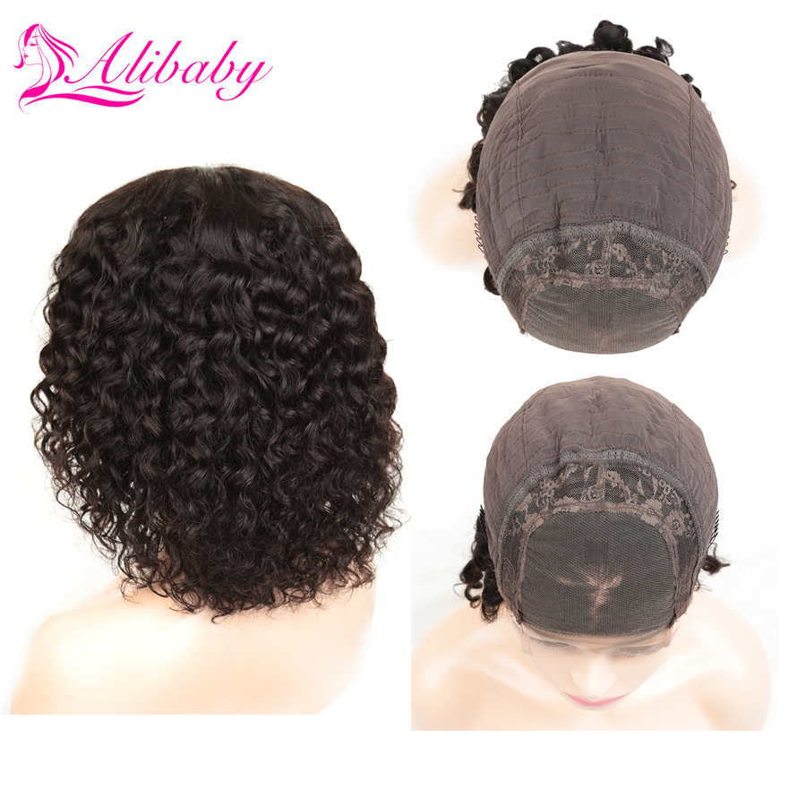 Alibaby Bob Wig Lace Front Human Hair Wigs Brazilian Lace Front Wigs Remy 4x4 Closure Wig Water Wave Natural Color 8-16 Inch