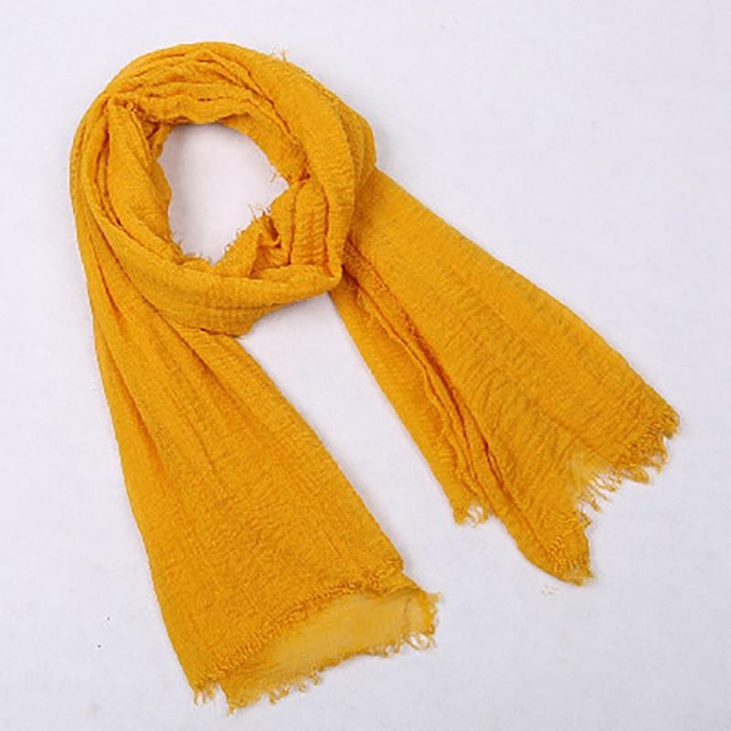 5Pc Ladies Solid Color Shawl Headscarf Muslim Scarf Headscarf Hijab Shawl Ethnic Wind Creased Scarf