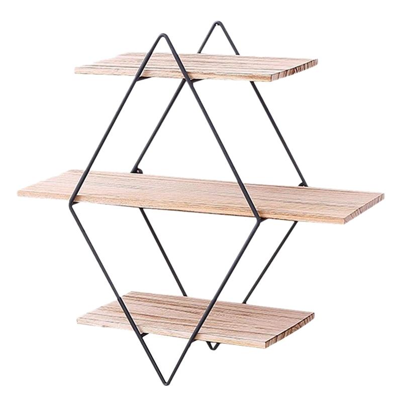 Rustic Wood Wall Floating Shelves Decorative Wall Shelf 3 Tier Geometric Diamond Wall