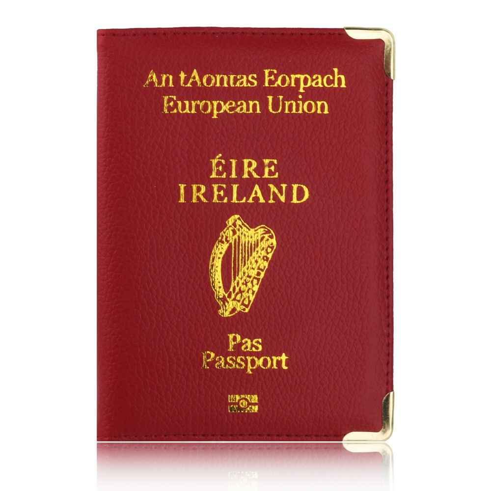 TRASSORY Litchi Patroon Europese Unie Ierland Lederen Paspoort Deksel Vrouwen Houder met Koperen Hoek