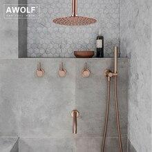 """浴室のシャワーセット起毛ローズゴールドシンプルさ固体真鍮 8 """"シャワーヘッド蛇口ミキサータップシャワー風呂クロームAH3023"""