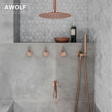 "Badkamer Douche Set Geborsteld Rose Gold Eenvoud Massief Messing 8 ""Douchekop Mengkraan Douche Bad Zwart Chroom AH3023"