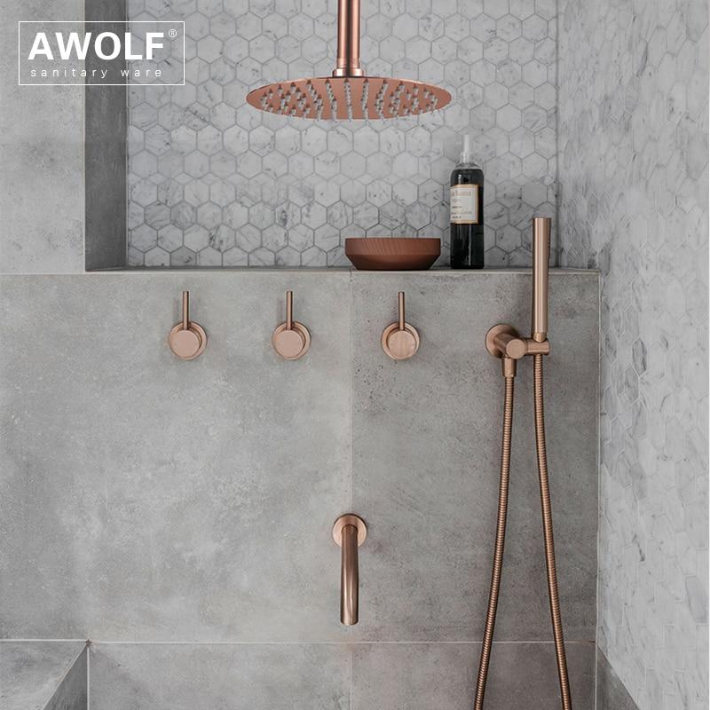 Bathroom Shower Set Brushed Rose Gold Simplicity Solid Brass 8